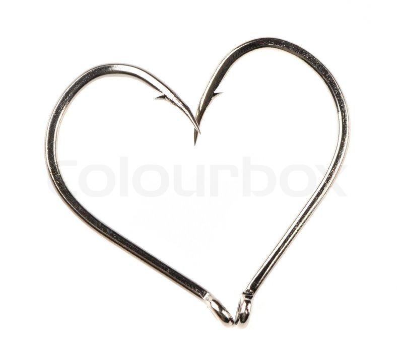 Heart Shape Made of Two Fish Hooks | Stock Photo | Colourbox