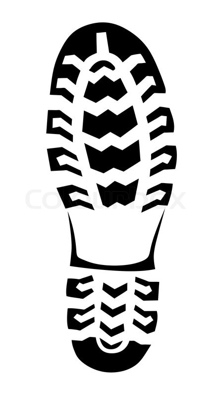 boot trace on white background vector illustration