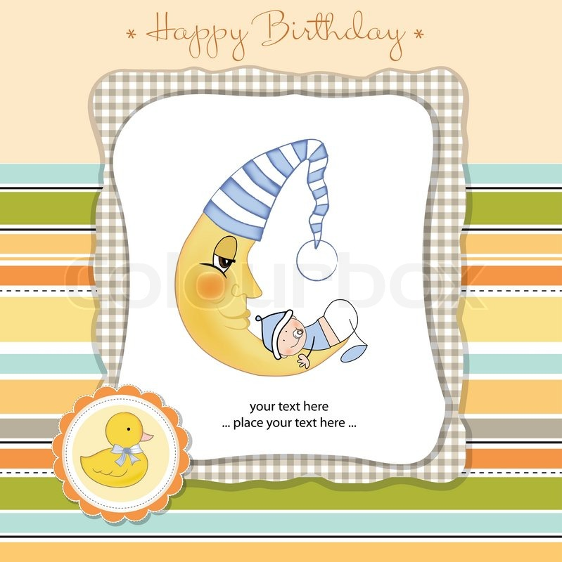 Greeting card with baby boy on moon stock vector colourbox greeting card with baby boy on moon vector bookmarktalkfo Choice Image