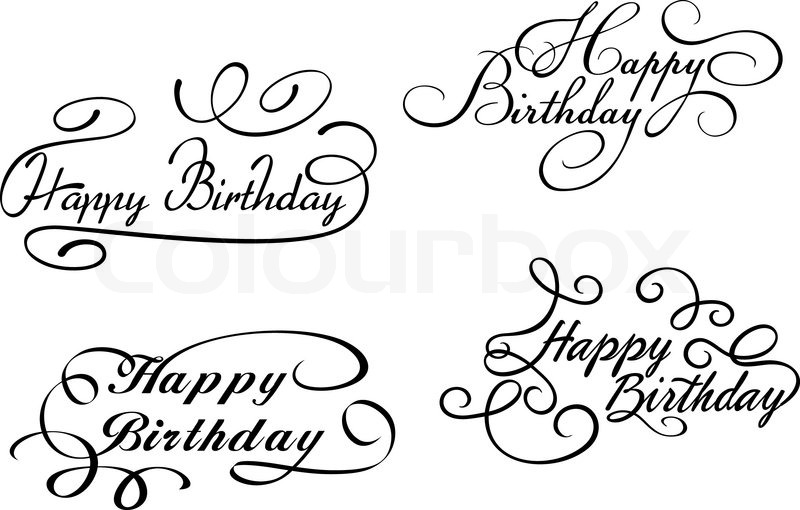Happy birthday calligraphic embellishments stock vector
