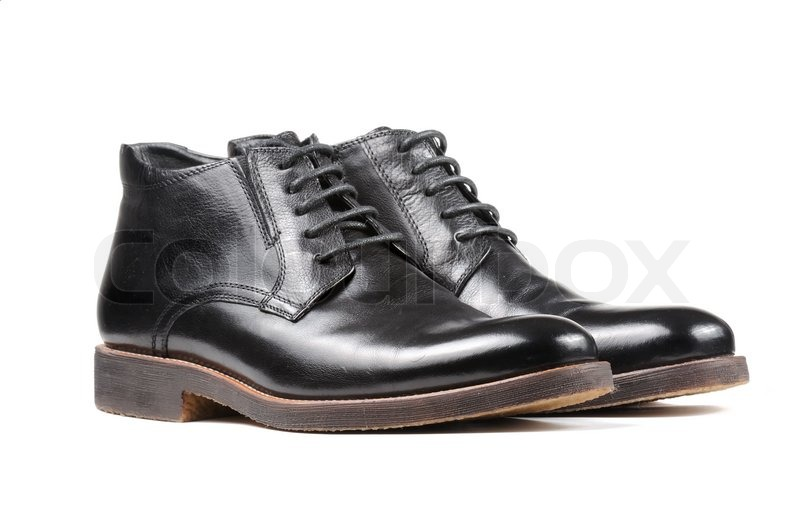 1912d96ea3 Stock image of  Men s Classic Black Leather Shoes Isolated on White  Background
