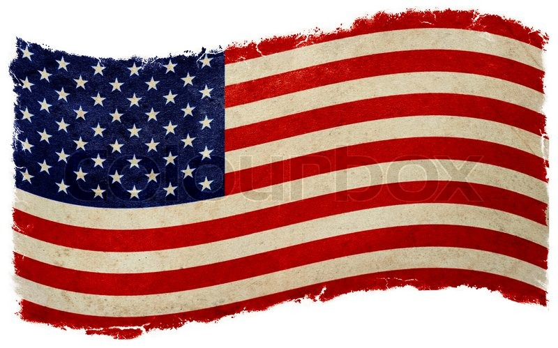 Old designed vintage american flag waving | Stock Photo ...