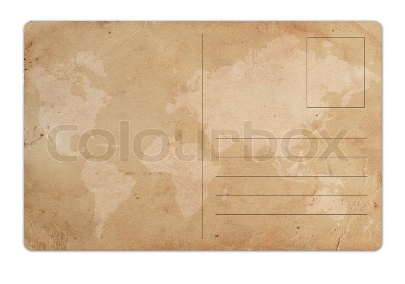 vintage postcard on white background stock photo colourbox