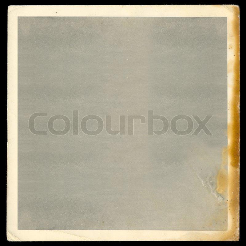 vintage old blank burned photograph design element with white border