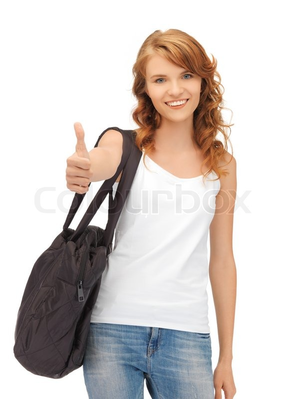 Teenage girl in blank white t shirt with thumbs up stock for How to get foundation out of a white shirt