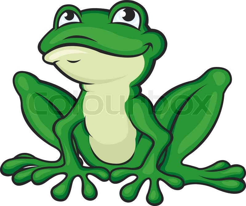 cartoon green frog stock vector colourbox