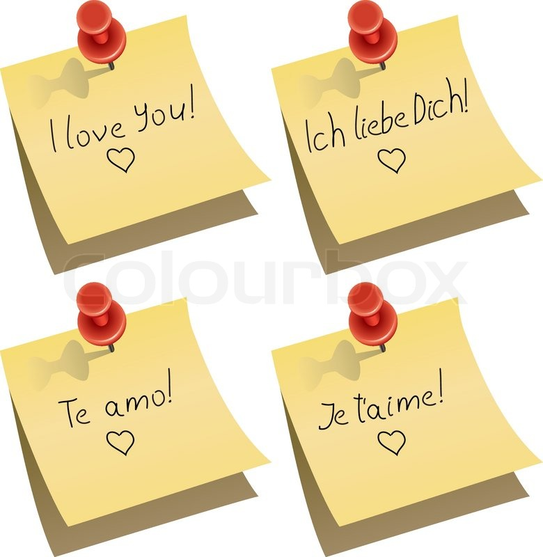 Vector Yellow Paper Note With Push Pin And I Love You Words In English German Spanish And French Stock Vector Colourbox