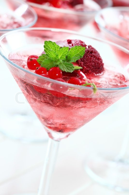 Summer cocktail with champagne and sorbet | Stock Photo | Colourbox