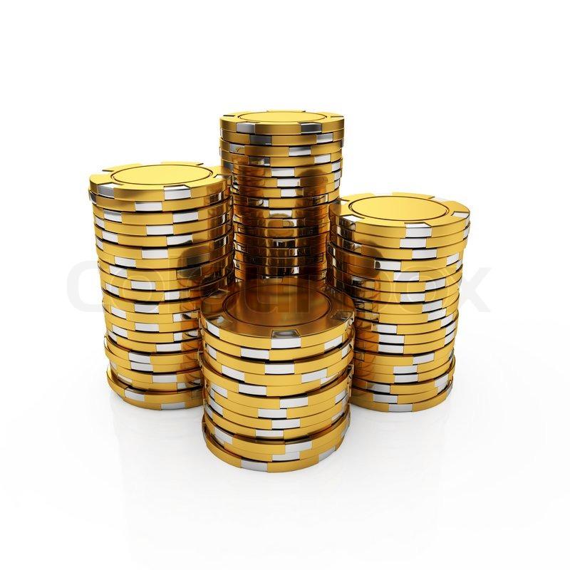 Golden casino chips | Stock Photo | Colourbox
