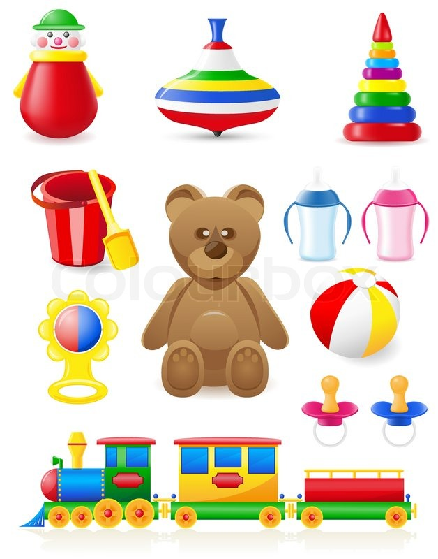 Icon of toys and accessories for babies and children ...