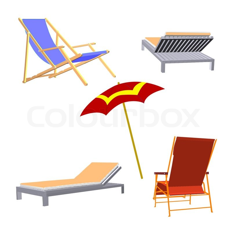 Chaise Lounge And Umbrella Beach Inventory Vector