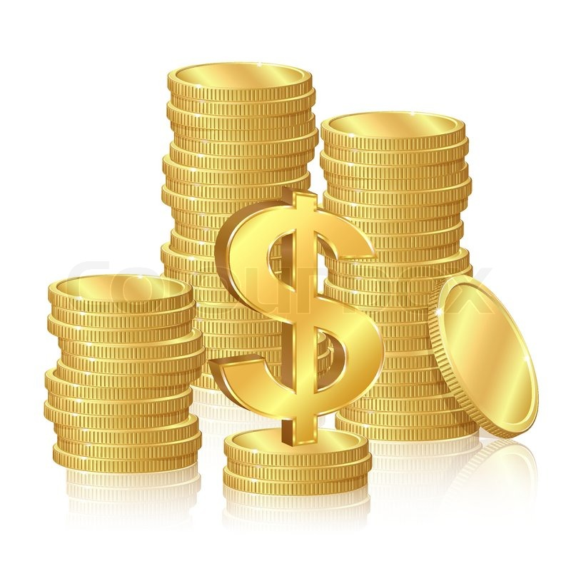 stacks of gold coins and dollar signs stock vector