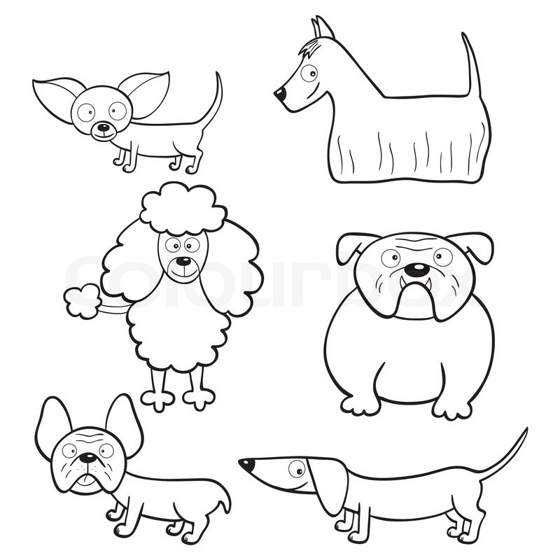 Coloring Book With Cartoon Dogs Stock Vector Colourbox