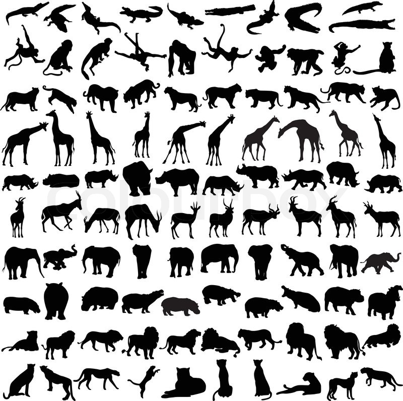 Hundred silhouettes of wild animals from Africa | Stock ...