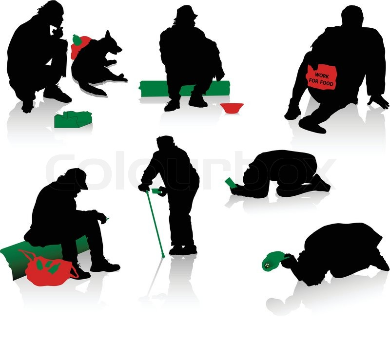 Silhouettes Of Beggars And Homeless Stock Vector