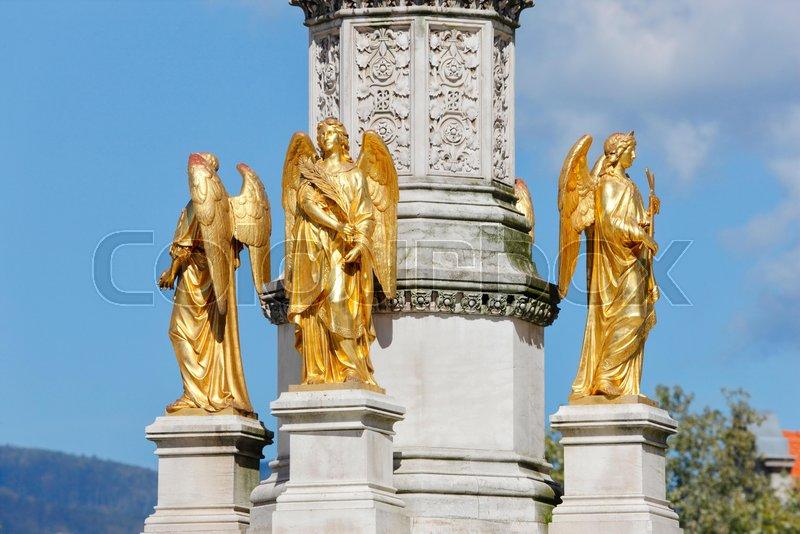 Zagreb sculpture of golden angels in ...