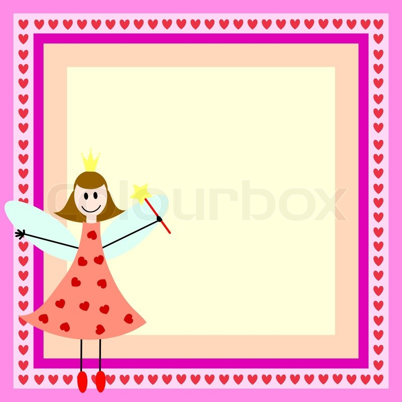 Pink card with fairy girl in the bright frame | Stock Vector | Colourbox