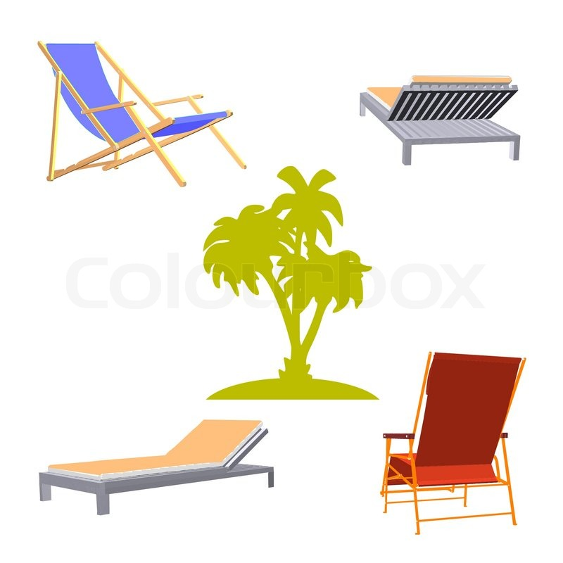 Chaise lounge and palms vector stock vector colourbox for Breezy beach chaise