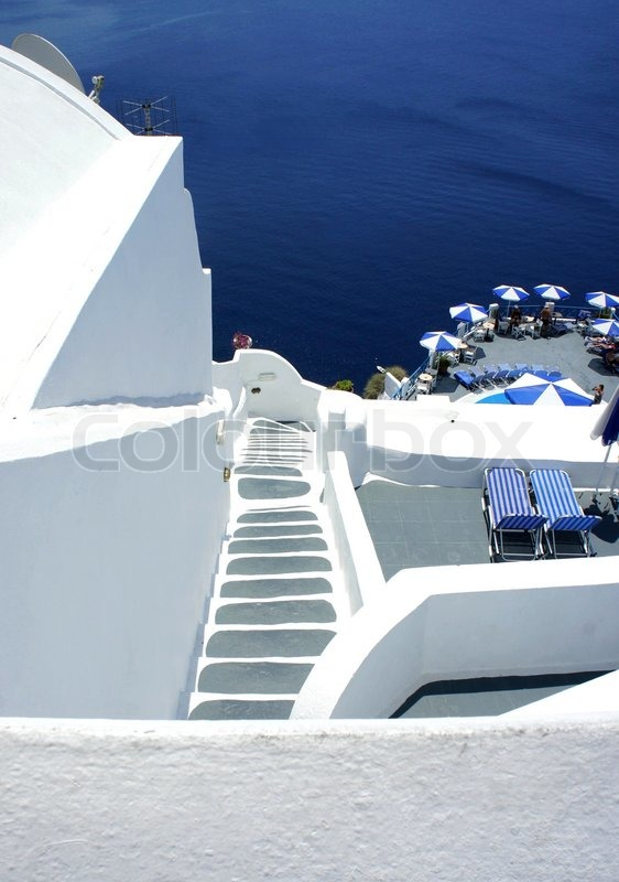 santorini gem tliche terrasse mit treppe stockfoto colourbox. Black Bedroom Furniture Sets. Home Design Ideas
