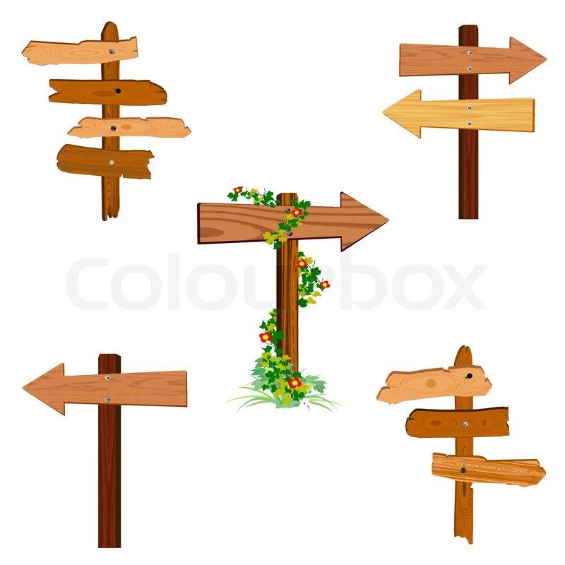 wooden arrow signs vector stock vector colourbox