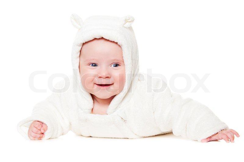 Smiley baby liegen auf wei en boden stockfoto colourbox for Boden liegen