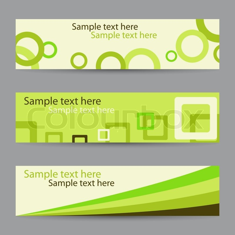 Collection of green horizontal banners with circles, squares and ...