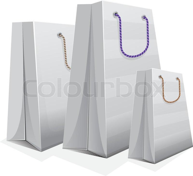 White Shopping Bag Black Handle White Blank Shopping Bag