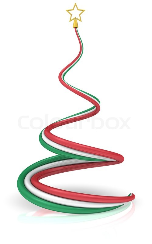 Abstract Christmas Tree With The Colors Of The Flag Of