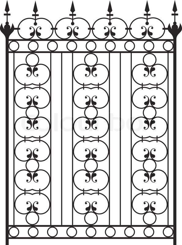 Wrought iron gate door fence window grill railing for Window design vector
