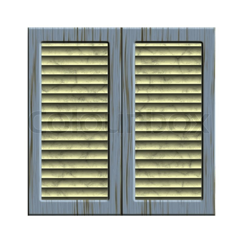 Old Window Closed Shutters Vector Stock