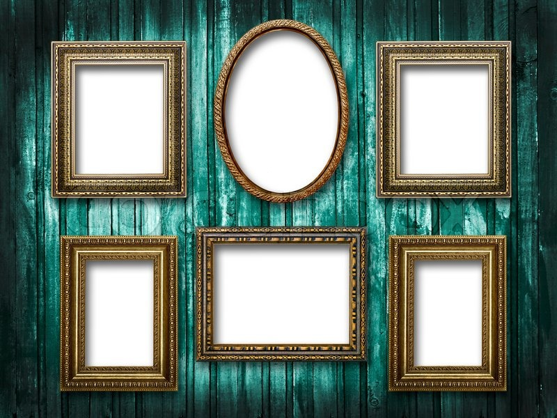 Illustration of six picture frames on a wooden background grunge stock phot - Six pictures photo frame ...