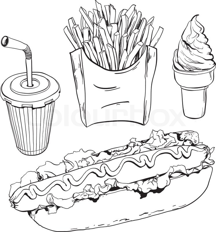 Eating Junk Foods Drawing Fast Food Set Isolated on