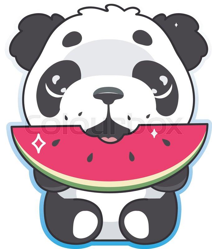Cute Panda Eating Watermelon Kawaii Stock Vector Colourbox