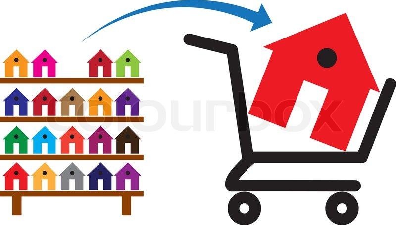 Konzept der kauf ein haus oder eine stock vektor for Kauf ein haus