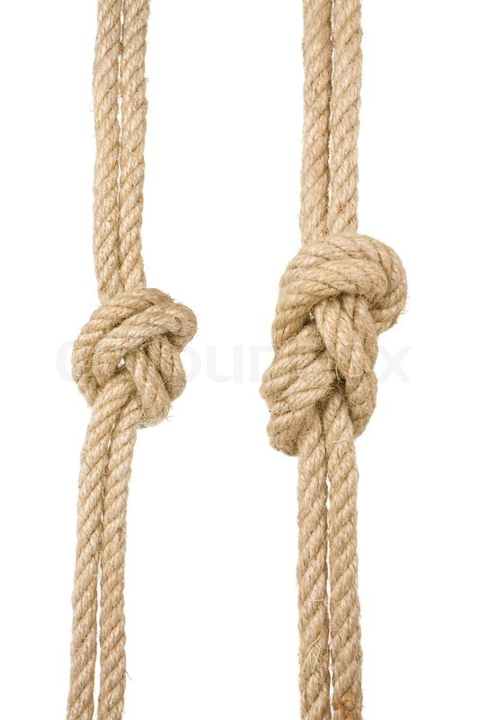 Ship Ropes With A Knot Isolated On White Background Stock Photo Colourbox