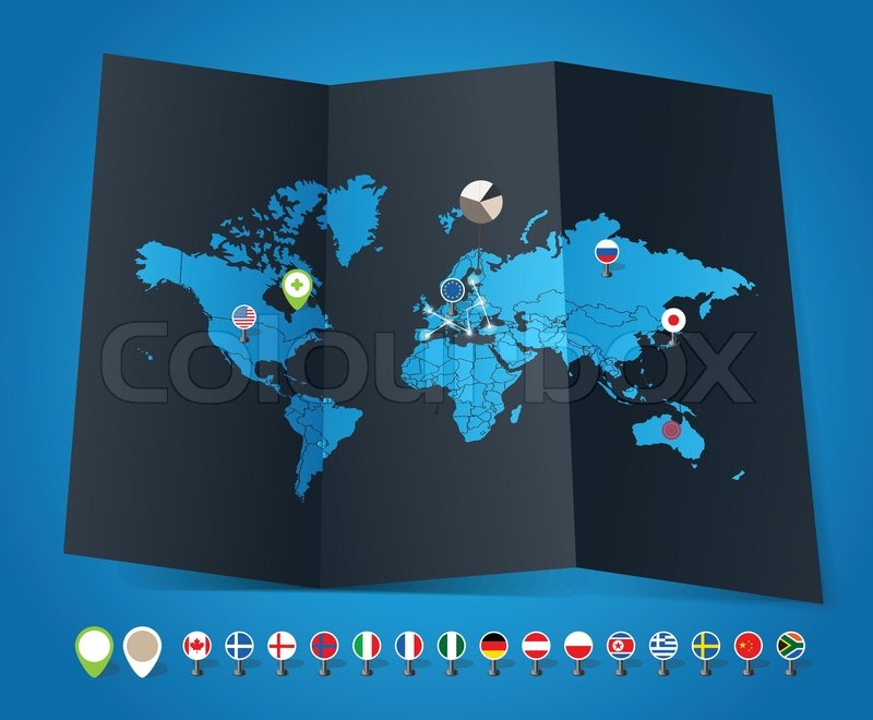 World map on old map and flags of different countries and symbols stock vector of world map on old map and flags of different countries and symbols gumiabroncs Images