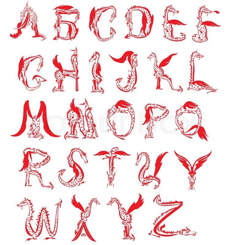 Dragon alphabet, fantasy dragon font | Stock image | Colourbox