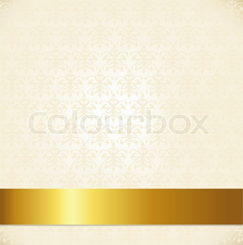 beige damask background with gold ribbon vector illustration