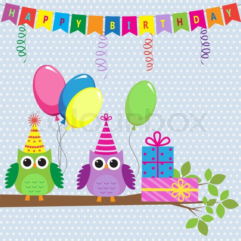 Vector birthday card with cute owls Vector – Vector Birthday Card