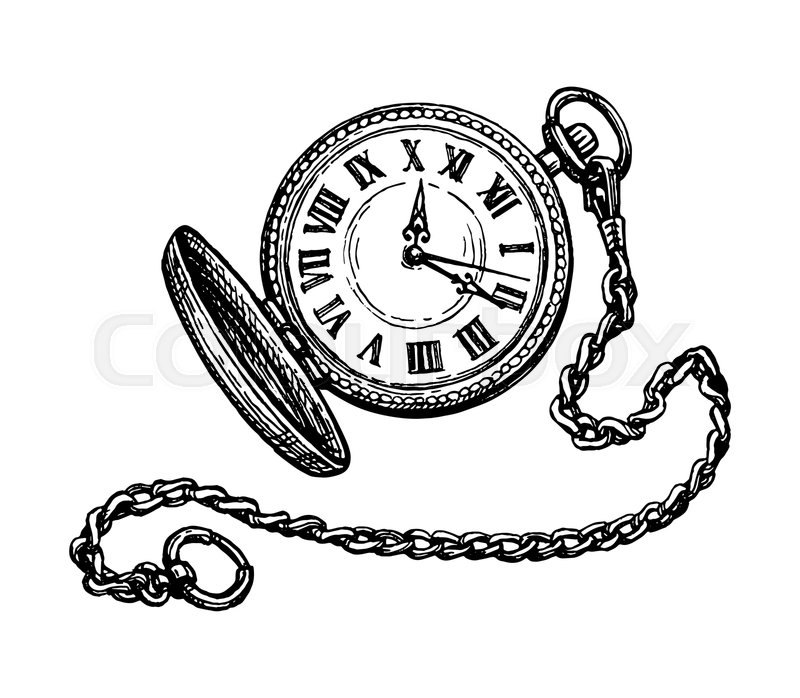 Pocket Watch Drawing – Pocket watch drawing stock photos and images.