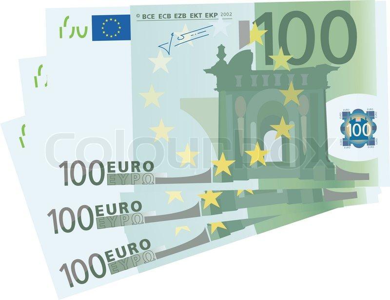 Vektorzeichnende ein 3 x 100 euro scheine isoliert for Schlafsofa 300 euro
