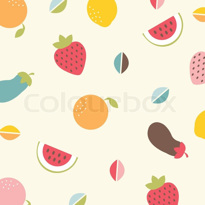 Background With Vegetables And Fruit Stock Vector Colourbox