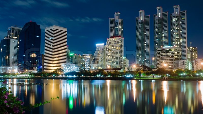 Night Lights Building In Bangkok Stock Photo Colourbox