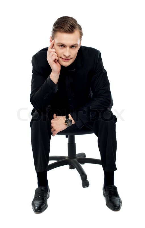 Handsome Young Caucasian Male Sitting Stock Photo Colourbox
