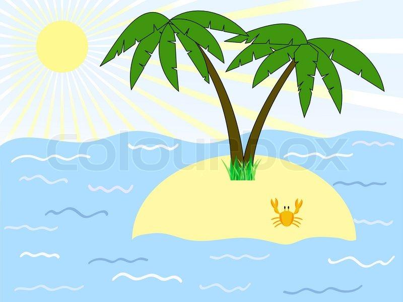 tropischen insel mit palmen unter dem meer vektorgrafik colourbox. Black Bedroom Furniture Sets. Home Design Ideas