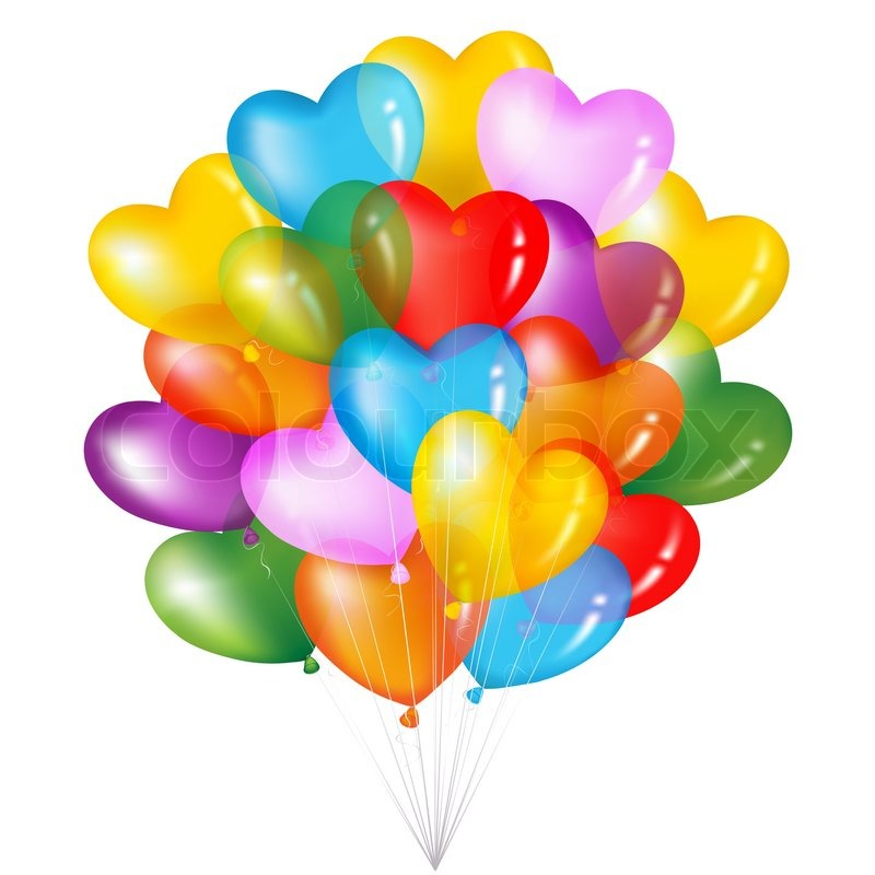 Image of 'Bunch Of Colorful Heart Shape Balloons'