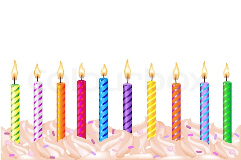 Birthday Cake With Candles Not Lit Clipart