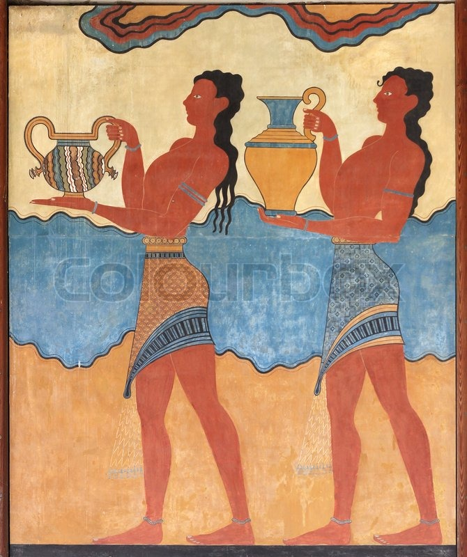 Minoan figures mural painting fresco stock photo colourbox for Ancient greek mural