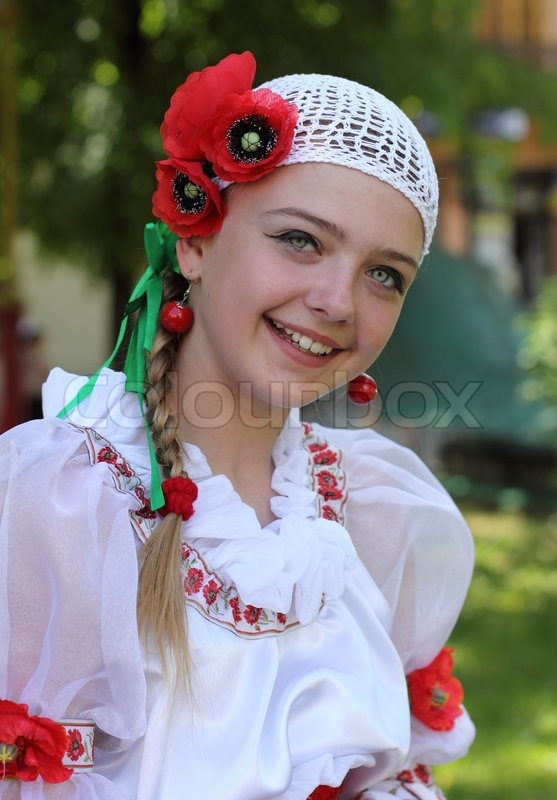 the ukrainian girl in a national suit