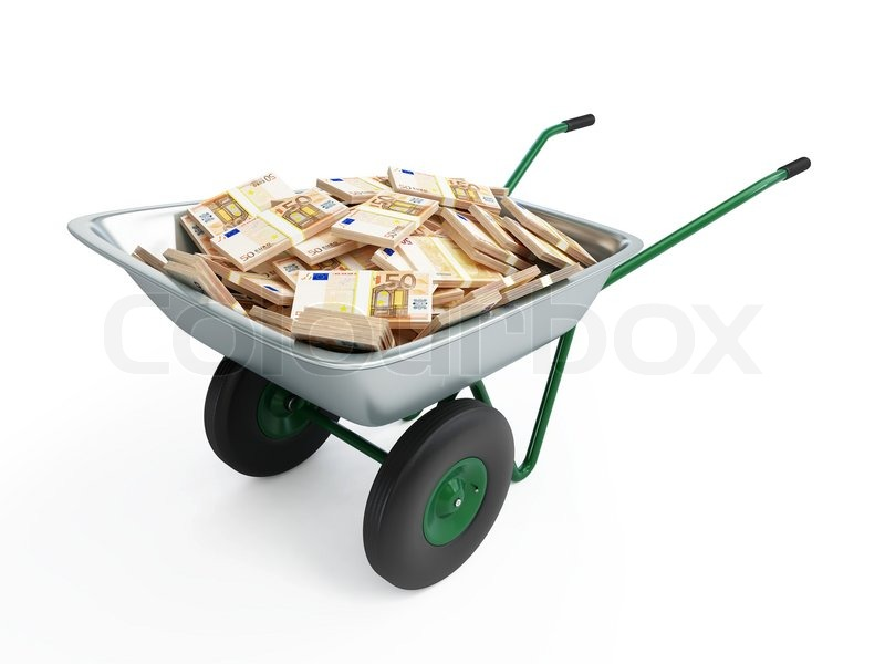 Stock image of 'Wheelbarrow full of money'